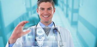 Samengesteld beeld van 3d portret die van arts gesturing Royalty-vrije Stock Afbeelding