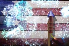 Samengesteld beeld van 3D raket voor vuurwerk Royalty-vrije Stock Foto
