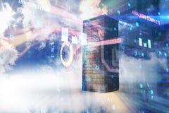 Samengesteld beeld van 3d servertoren Royalty-vrije Stock Afbeeldingen