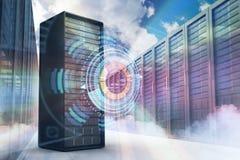 Samengesteld beeld van 3d servertoren Stock Foto's
