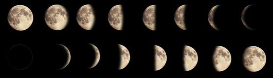 Samengesteld beeld van de fasen van de maan Stock Fotografie