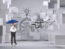 Samengesteld beeld van de gelukkige paraplu van de zakenmanholding Royalty-vrije Stock Fotografie