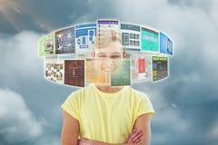 Samengesteld beeld van de glimlachende crestive bedrijfs 3d mens Stock Afbeelding