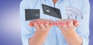 Samengesteld beeld van de handen van de vrouw 3d voorstellen Royalty-vrije Stock Foto