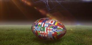 Samengesteld beeld van de internationale bal van de rugbywereldbeker Stock Foto's