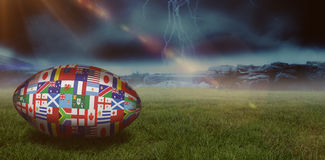 Samengesteld beeld van de internationale bal van de rugbywereldbeker Stock Foto