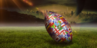 Samengesteld beeld van de internationale bal van de rugbywereldbeker Royalty-vrije Stock Fotografie
