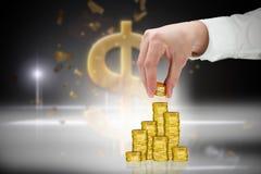 Samengesteld beeld van de muntstukken van de zakenmanholding Royalty-vrije Stock Afbeeldingen