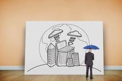 Samengesteld beeld van de paraplu van de zakenmanholding Stock Foto's