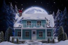Samengesteld beeld van de spelengitaar van de Kerstman met zonnebril Royalty-vrije Stock Fotografie