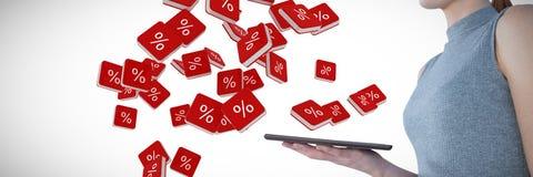 Samengesteld beeld van de tabletcomputer van de onderneemsterholding Stock Afbeelding