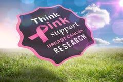 Samengesteld beeld van de voorlichtingsbericht van borstkanker Royalty-vrije Stock Foto's