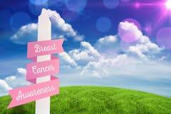 Samengesteld beeld van de voorlichtingsbericht van borstkanker Stock Foto