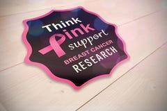Samengesteld beeld van de voorlichtingsbericht van borstkanker Stock Foto's