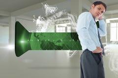 Samengesteld beeld van denkende zakenman met hand op hoofd Stock Foto's