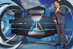 Samengesteld beeld van denkende zakenman met hand op kin Stock Afbeelding
