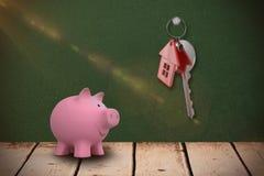 Samengesteld beeld van dicht omhoog roze 3d spaarvarken Royalty-vrije Stock Foto