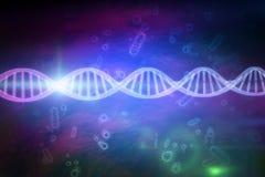 Samengesteld beeld van dichte omhooggaand van 3d DNA Stock Afbeelding