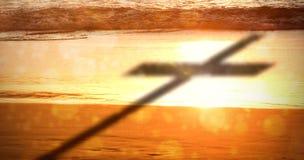 Samengesteld beeld van dichte omhooggaand van 3d houten kruis Royalty-vrije Stock Afbeeldingen