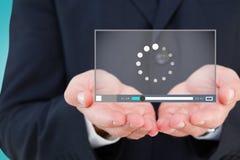 Samengesteld beeld van dichte omhooggaand van hand van een 3d zakenman Stock Foto
