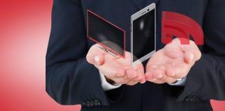 Samengesteld beeld van dichte omhooggaand van hand van een 3d zakenman Stock Afbeeldingen