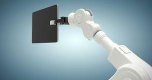 Samengesteld beeld van digitaal geproduceerd beeld die van robot digitale tablet 3d houden Royalty-vrije Stock Afbeeldingen