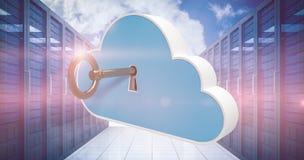 Samengesteld beeld van digitaal geproduceerd beeld van blauwe kast in wolkenvorm met zeer belangrijke 3d Stock Afbeeldingen