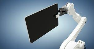 Samengesteld beeld van digitaal geproduceerd beeld van 3d robot en digitale tablet Stock Afbeeldingen