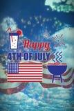 Samengesteld beeld van digitaal geproduceerd beeld van de decoratie van de onafhankelijkheidsdag met tekst stock illustratie