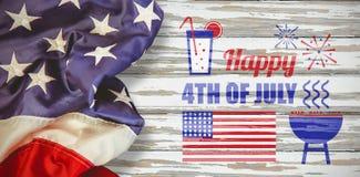 Samengesteld beeld van digitaal geproduceerd beeld van de decoratie van de onafhankelijkheidsdag met tekst royalty-vrije stock afbeelding
