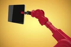 Samengesteld beeld van digitaal geproduceerd beeld van digitale die tablet door 3d machine wordt gehouden Stock Foto's