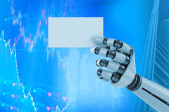 Samengesteld beeld van digitaal geproduceerd beeld van het witte robotachtige 3d aanplakbiljet van de wapenholding Stock Foto's