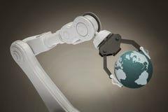 Samengesteld beeld van digitaal geproduceerd beeld van robot met 3d bol Stock Afbeelding