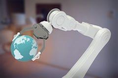 Samengesteld beeld van digitaal geproduceerd beeld van robot met 3d bol Stock Afbeeldingen