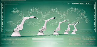 Samengesteld beeld van digitaal geproduceerd beeld van robotachtige 3d wapens Stock Afbeelding