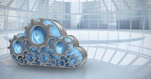 Samengesteld beeld van digitaal geproduceerd beeld van toestel in 3d wolkenvorm Stock Fotografie