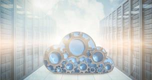 Samengesteld beeld van digitaal geproduceerd beeld van toestel in 3d wolkenvorm Stock Afbeeldingen