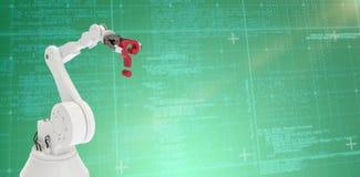 Samengesteld beeld van digitaal geproduceerd robotachtig wapen met 3d vraagteken Royalty-vrije Stock Afbeelding