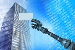 Samengesteld beeld van digitaal samengesteld beeld die van robotachtig wapen wit aanplakbiljet 3d houden Royalty-vrije Stock Foto's