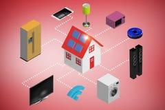 Samengesteld beeld van digitaal samengesteld beeld van 3d pictogrammen Stock Fotografie