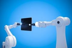 Samengesteld beeld van digitaal samengesteld beeld van 3d robots en digitale tablet Stock Foto
