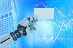 Samengesteld beeld van digitaal samengesteld beeld van het witte robotachtige 3d aanplakbiljet van de wapenholding Royalty-vrije Stock Foto's