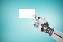 Samengesteld beeld van digitaal samengesteld beeld van het witte robotachtige 3d aanplakbiljet van de wapenholding Stock Foto