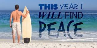 Samengesteld beeld van dit jaar zal ik vrede vinden stock fotografie