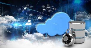 Samengesteld beeld van diverse pictogrammen en wolken over codage stock illustratie