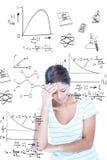 Samengesteld beeld van een mooi brunette met hoofdpijn Stock Afbeelding