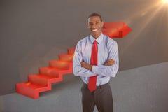Samengesteld beeld van elegante het glimlachen afrozakenman status in 3d bureau Stock Afbeelding