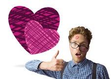 Samengesteld beeld van geeky die hipster in kussen wordt behandeld royalty-vrije stock fotografie