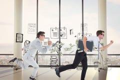 Samengesteld beeld van geeky gelukkige zakenman die medio lucht in werking stellen royalty-vrije stock fotografie