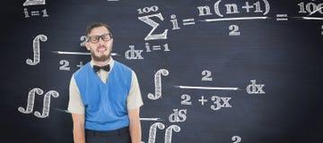 Samengesteld beeld van geeky hipster die een dwaas gezicht trekken stock afbeeldingen